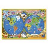 НастеннаяКарта Карта Мира. Вокруг света со Смешариками (101*69см, бумажная, ламинированная) (арт.396), (Геодом, 2017), Л, c.1