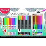Набор для рисования Maped 897417 (10 фломастеров-кистей,10 капиллярных ручек, 12 двухст.цв.карандашей, точилка )
