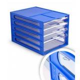 Блок с выдвижными лотками 4отд. Стамм ВЛ55 синий, лотки прозр.