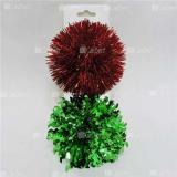 Бант-шар 12,5см ПОМПОН красный/зеленый