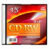 Диск CD-RW VS 4-12х Slim 80мин.